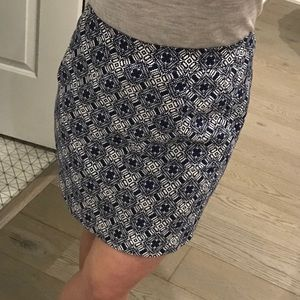 J Crew blue & white print basket weave mini skirt